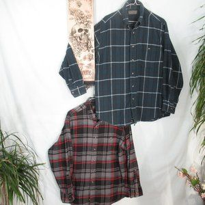 2 Super Soft Cotton Plaid Button Down Shirts